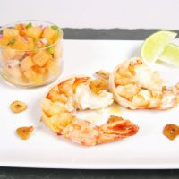Lemon Shrimp Tapa with Cantaloupe Lime Salsa