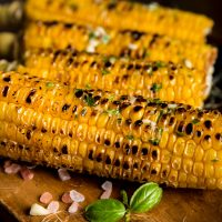 Grilled corn with Persian lime vinaigrette